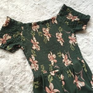 SIENNA SKY Green & Pink Orchid print Jumpsuit